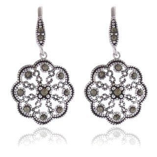 Dolce Giavonna Silverplated Marcasite Flower Design Drop Earrings