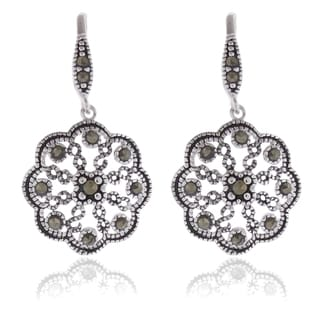 Dolce Giavonna Silver Overlay Marcasite Flower Design Drop Earrings