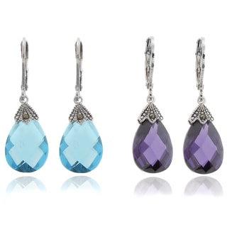 Dolce Giavonna Silver Overlay Marcasite and Cubic Zirconia Teardrop Leverback Earrings