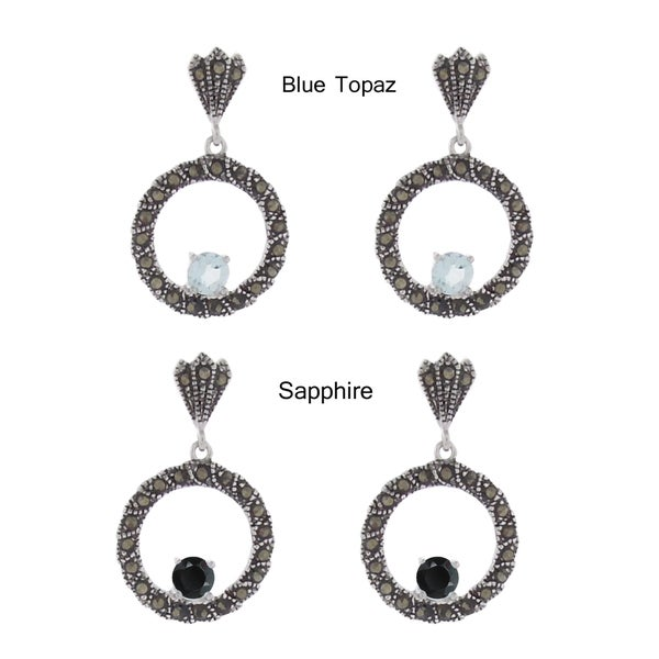 Dolce Giavonna Silverplated Marcasite and Gemstone Circles Drop Earrings 9862520