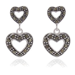Dolce Giavonna Silver Overlay Marcasite Double Hearts Dangle Earrings