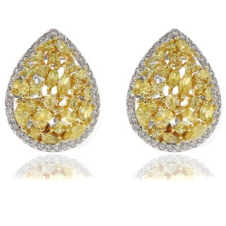 Dolce Giavonna Silver Overlay Yellow and White Cubic Zirconia Teardrop Stud Earrings