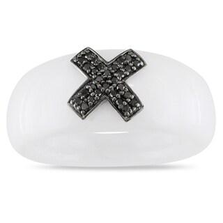 Miadora 14k White Gold White Onyx and Black Diamond Ring