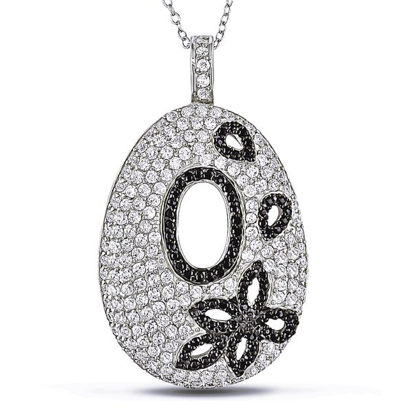 Miadora Sterling Silver White and Black Cubic Zirconia Necklace