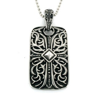 Stainless Steel Medieval Style Dog Tag Cross Necklace