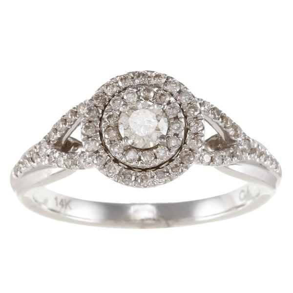 14k White Gold 1/2ct TDW White Diamond Double Halo Engagement Ring (IJ, I1-I2)