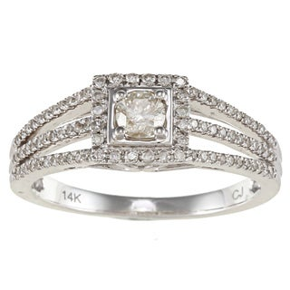 14k White Gold 1/2ct TDW White Diamond Split-shank Engagement Ring (IJ, I1-I2)