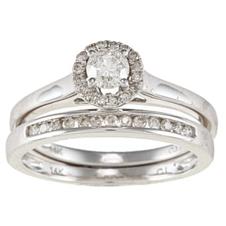 14k White Gold 1/2ct TDW White Diamond Halo Bridal Set (IJ, I1-I2)