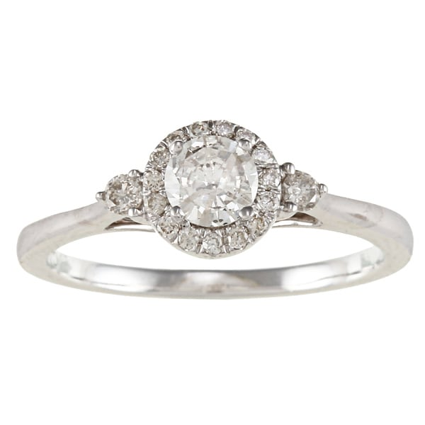 Victoria Kay 14k White Gold 1/2ct TDW Diamond Halo Engagement Ring (I-J, I1-I2)