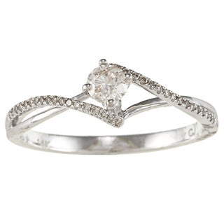 14k White Gold 1/3ct TDW Round Cut Swirl Diamond Ring (IJ, I1-I2)