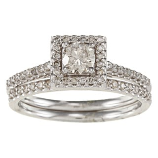 14k White Gold 5/8ct TDW White Diamond Square Halo Bridal Ring Set (IJ, I1-I2)