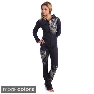 Tabeez Women's Teal French Terry Track Suit
