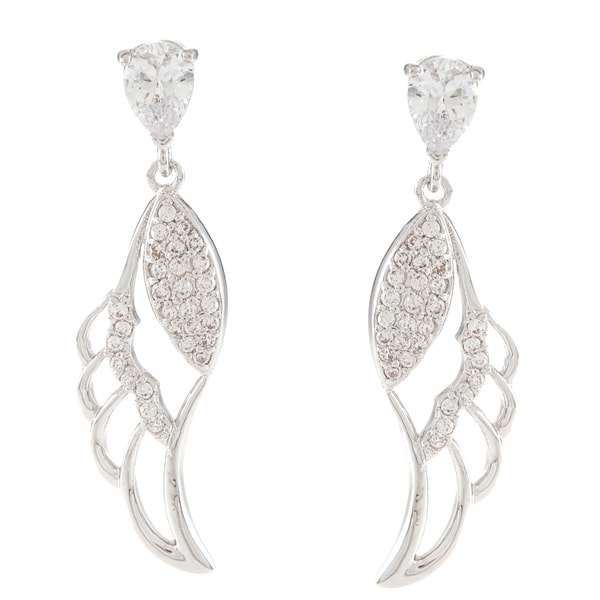 Silvertone Round-Cut Cubic Zirconia Leaf Dangle Earrings