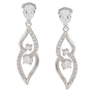 Silvertone Cubic Zirconia Dangling Leaf Earrings