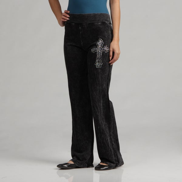 Tabeez Distressed Comfort Rhinestone Pants