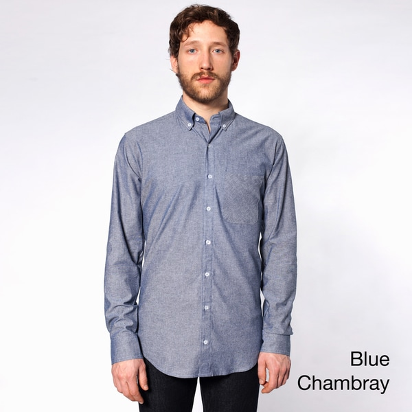 American Apparel Men's Long Sleeve Button-down Shirt with Pocket