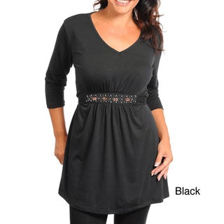 Stanzino Women's 3/4 Sleeve Stone Detailed Plus Size Tunic
