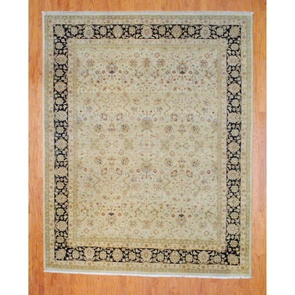 Indo Hand-knotted Beige/ Black Vegetable Dye Wool Rug (8' x 10')