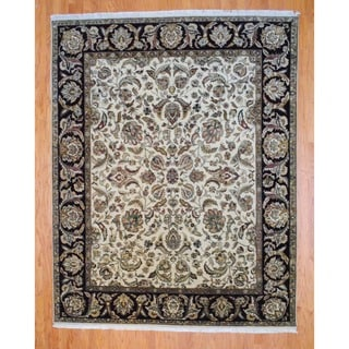 Indo Hand-knotted Ivory/ Burgundy Mahal Wool Rug (8' x 10')