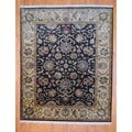 Indo Hand-knotted Dark Brown/ Beige Oushak Wool Rug (8' x 10')