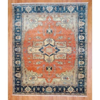 Indo Hand-knotted Salmon/ Green Serapi Wool Rug (8' x 10')