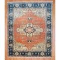 Indo Hand-knotted Salmon/ Green Serapi Wool Rug (8&#39; x 10&#39;)