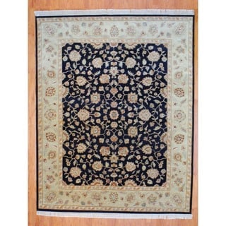 Indo Hand-knotted Black/ Light Green Tabriz Wool Rug (8' x 10')