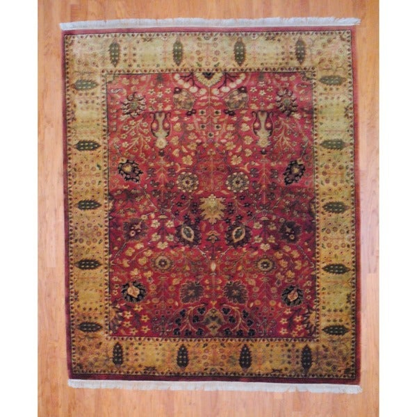 Indo Hand-knotted Rust/ Light Green Serapi Wool Rug (8' x 10')