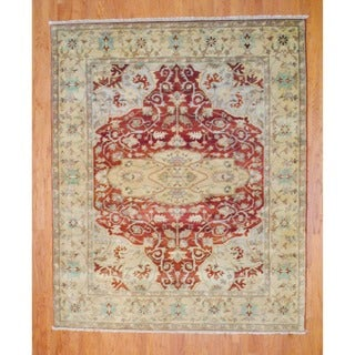 Indo Hand-knotted Rust/ Gold Serapi Wool Rug (8' x 10')
