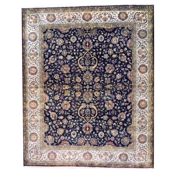 Herat Oriental Indo Hand-knotted Farahan Black/ Beige Wool Rug (8' x 10')