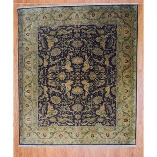 Indo Hand-knotted Burgundy/ Gold Mahal Wool Rug (8' x 10')