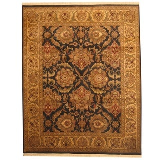 Herat Oriental Indo Hand-knotted Oushak Black/ Ivory Wool Area Rug (8' x 10')