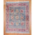 Indo Hand-knotted Light Green/ Salmon Oushak Wool Rug (8' x 10')