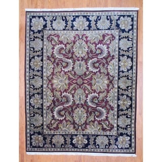 Indo Hand-knotted Burgundy/ Black Mahal Wool Rug (8' x 10')