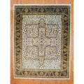 Indo Hand-Knotted Ivory/Rust Farahan Traditional Wool Rug (8' x 10')