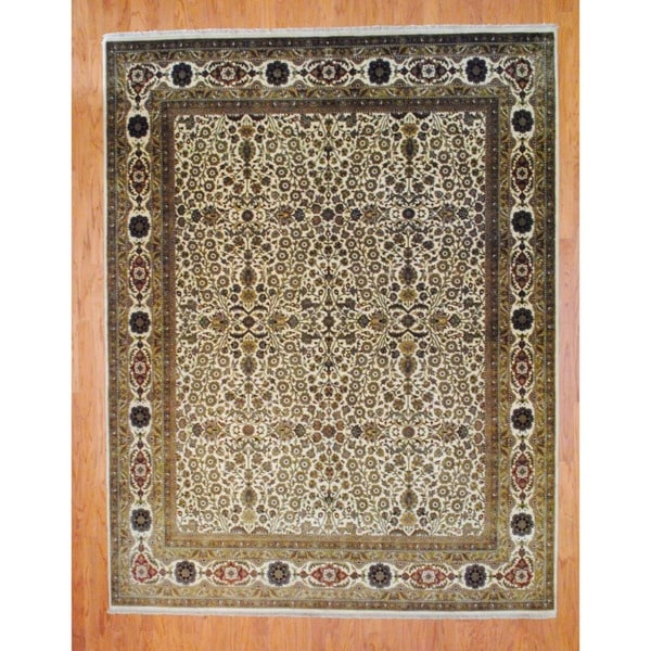 Herat Oriental Indo Hand-knotted Farahan Ivory/ Rust Wool Rug (8' x 10')