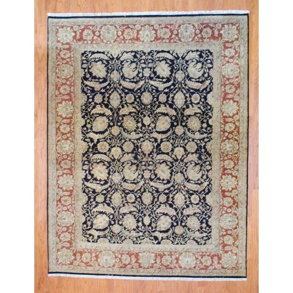 Indo Hand-knotted Black/ Brown Sarouk Wool Rug (8' x 10')