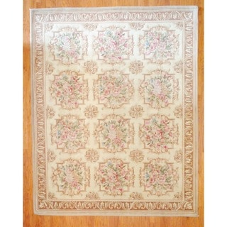 Sino Hand-knotted Ivory/ Brown Aubossan Wool Rug (8' x 10')