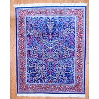 Sino Hand-knotted Blue/ Red Kerman Wool Rug (8' x 10')
