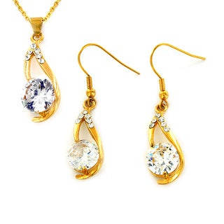 Goldplated Stainless Steel Cubic Zirconia Earrings and Necklace Set