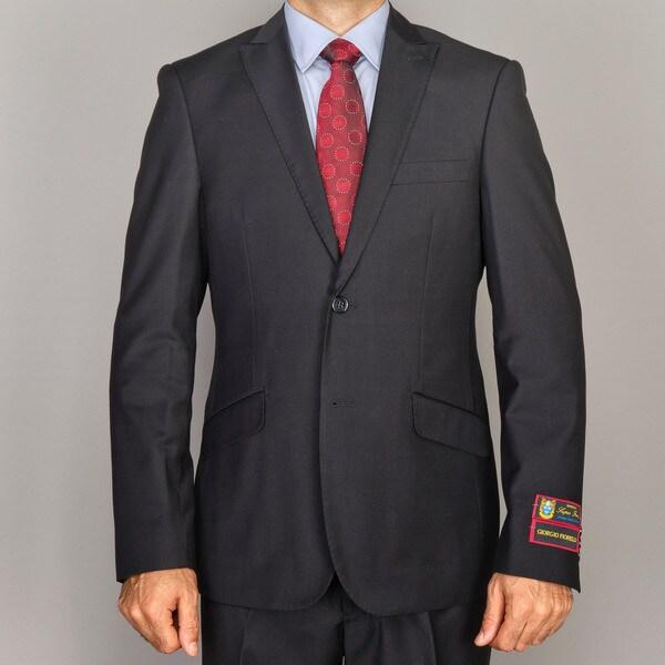 Men's Solid Black Slim-Fit Suit