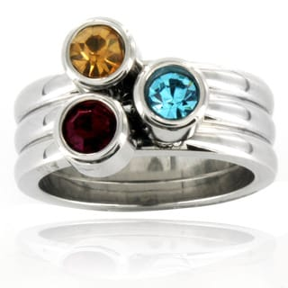 Stainless Steel Stacked Crystal Detail Ring