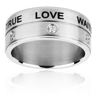 ELYA Stainless Steel Stacked 'True Love Waits' Ring