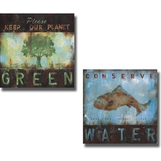 Wani Pasion 'Green Planet and Conserve Water' 2-piece Canvas Art Set