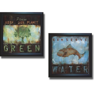 Wani Pasion 'Green Planet and Conserve Water' Framed 2-piece Canvas Art Set