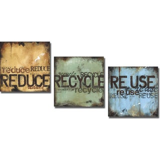 Wani Pasion 'Reduce Recycle and Reuse' 3-piece Canvas Art Set