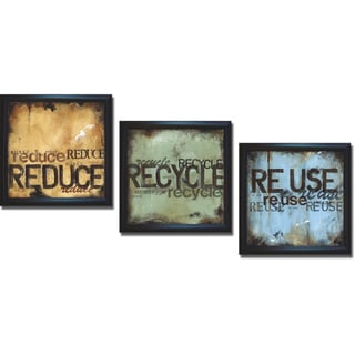 Wani Pasion 'Reduce Recycle and Reuse' Framed 3-piece Canvas Art Set