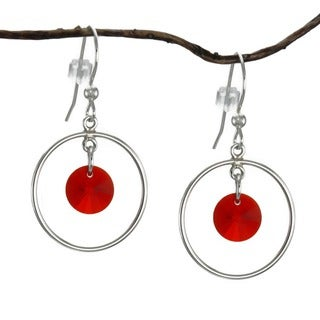 Jewelry by Dawn Hoops With Red Crystal Drops Sterling Silver Earrings