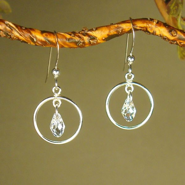 Jewelry by Dawn Small Hoops With Crystal Moonlight Sterling Silver Earrings