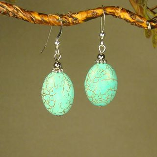 Oval Turquoise Magnesite Earrings